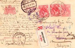18.3.18 Aangetekende Bk Met Paar NVPH 60 Van AMERSFOORT Naar Luik En Verder Naar SCLAYN - Postal Stationery