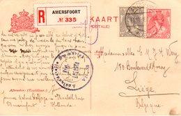 21.10.18 Aangetekende Bk Met Paar NVPH 62 Van AMERSFOORT Naar Luik Via Emmerich - Entiers Postaux