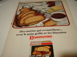 ANCIENNE PUBLICITE PAIN  GRILLE ET BISCOTTES GRINGOIRE 1965 - Posters
