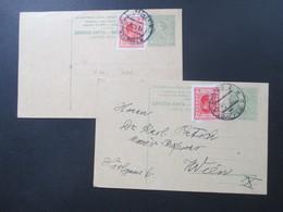 Königreich SHS / Jugoslawien / Kroatien 2 Ganzsachen 1919 Und 1926 Jeweils Mit Zusatzfrankatur! Nach Wien Gesendet! - Croatia