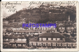 97957 ITALY MONDOVI CUNEO STATION TRAIN & PANORAMA CIRCULATED TO ARGENTINA POSTAL POSTCARD - Italie