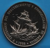DOMINICANA REP. 1 PESO 1988  KM# 66 500th Anniv. Of Discovery And Evangelization - Dominicana