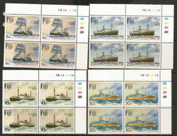 Histoire Des Voiliers Et Bateaux Postaux Aux îles FIDJI.  4 Blocs De 4 Neufs ** Bord De Feuille, Côte 16,00 Euro - Fidji (1970-...)