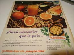 ANCIENNE PUBLICITE ORANGE AUSSI NECESSAIRE QUE LE PAIN 1965 - Posters