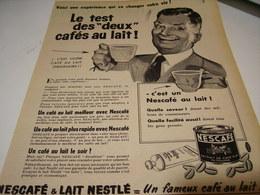 ANCIENNE AFFICHE PUBLICITE LE TEST DES 2 CAFE AU LAIT  NESCAFE  1955 - Posters