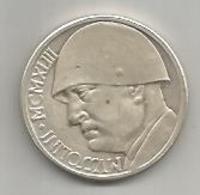Italia, Benito Mussolini Con Elmo L. 20 Ag. Gr. 21. - Italy