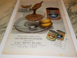 ANCIENNE PUBLICITE CREMES DE DESSERT  LAIT MONT BLANC 1955 - Posters