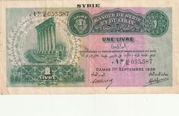 Banque De Syrie Et Liban 1 Livre 1939 - Syrie