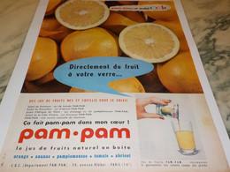 ANCIENNE PUBLICITE JUS DE FRUIT EN BOITE PAM PAM 1955 - Affiches