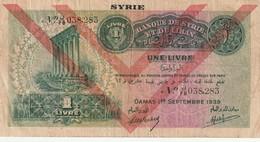 Banque De Syrie Et Liban 1 Livre 1939 Deux Chevron - Syrie