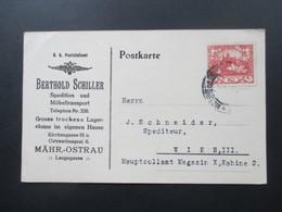 CSSR 1.2.1919 Firmenkarte Berthold Schiller Spedition Und Möbeltransport Mähr. Ostrau - Czechoslovakia