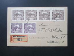 CSSR Um 1919 Hradschin Nr. 18 Als Waagerechter 4er Streifen Und Nr. 10 Als Waag. Paar. Einschreiben Kral. Vinohrady - Tschechoslowakei/CSSR