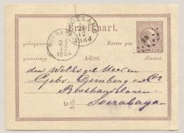 Nederlands Indië - 1884 - 5 Cent Willem III, Briefkaart G1 Met Rondstempel En Puntstempel MAGELANG Naar Soerabaja - Nederlands-Indië