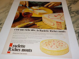 ANCIENNE AFFICHE  PUBLICITE FROMAGE RACLETTE RICHES MONTS  1979 - Posters