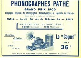 """PUB  PHONOGRAPHES  """" PATHE  """"  """" LE COQUET """"  1903 (1) - Musique & Instruments"""