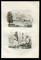 India Pondichery Parliament Security Pondicherry Gouverneur Pions Et Gardes Antique Engraving 1839 Y. - Estampes & Gravures