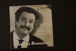 GEORGES BRASSENS LA MAUVAISE HERBE TRES RARE EP DE 1957 VARIANTE  POCHETTE NOIR ET BLANC ET NON SAUMON.VICTOR HUGO - 45 Rpm - Maxi-Single