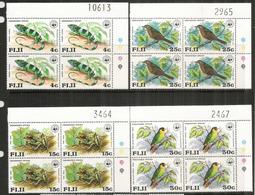 Protection De La Faune Locale Des FIDJI, 4 Blocs De 4 Neufs ** Bord De Feuille, Côte 60,00 Euro - Fidji (1970-...)
