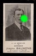 Joseph BAUWENS époux WILKIN  AYENEUX 1891 - BILSTAIN 1918  / Grippe Espagnole - Todesanzeige