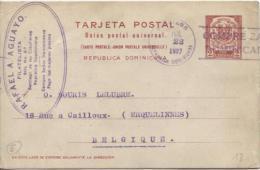 Tarleta Postal-Carte Postale UPU Republica Dominicana Santiago 1927 Incoming To Belgium PR746 - Dominicaine (République)