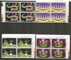 Fêtes De La Joie à FIDJI: Aïd El-Fitr,Diwali,Noël,Nouvel An Chinois. 4 Blocs De 4 Neufs ** Bord De Feuille - Fidji (1970-...)