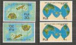 Carte Géographique Des îles FIDJI,  4 Timbres Neufs ** - Fidji (1970-...)