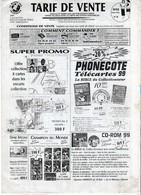 TARIFS DE VENTE TELECARTES  Le Monde Des Télécartes  ANNEE 1998 - Phonecards