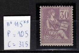 N° 115 Neuf** TTB, 30 Centimes Violet Sans Défaut, Superbe Affaire (cote 315 Euros) - 1870 Bordeaux Printing