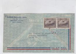 DURAN BALLEN HNOS. AIRMAIL SOBRE ENVELOPE CIRCULEE ECUADOR TO USA CIRCA 1950's- BLEUP - Guatemala
