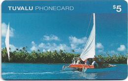 Tuvalu - Catamaran $5, OITIB, 07-1995, Used - Tuvalu