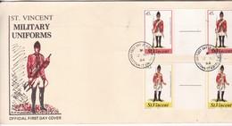 ST VINCENT. MILITARY UNIFORMS. FDC. SE TENANT KINGSTOWN 1984- BLEUP - St.Vincent (1979-...)