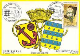 45 - BEAUGENCY : Jumelage BEAUGENCY - HILTRUP ( Allemagne ) 17 Mai 1975( Carte Numérotée 1er Jour ) CPSM GF - - Beaugency