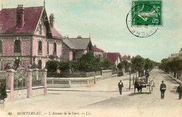 CPA - MONTEREAU (77) - Aspect De L'avenue De La Gare Au Début Du Siècle - Carte Colorisée - Montereau