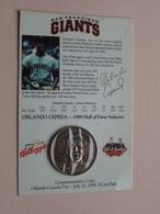 "SAN FRANCISCO GIANTS "" ORLANDO CEPEDA Hall Of FAME Inductee 1999 ( Kellogg's ) ( See Photo Please ) ! - Otros"