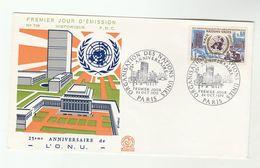 1970 France UNITED NATIONS Anniv FDC UN Stamps Cover - UNO