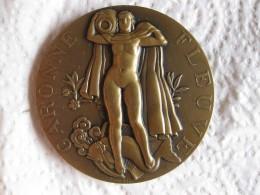 Médaille Fleuve Garonne, Femme Nue Par Marcel Renard En 1936, Art Deco - Francia