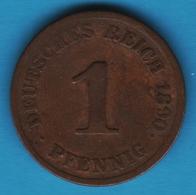 DEUTSCHES REICH 1 PFENNIG 1890 J  KM# 10 Wilhelm II - [ 2] 1871-1918 : German Empire