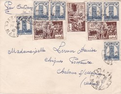 SOBRE ENVELOPPE CIRCULEE MAROC TO MARNE, FRANCE CIRCA 1945. MIXED STAMPS.- BLEUP - Marokko (1956-...)