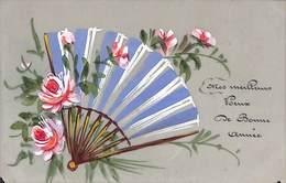 Jolie Carte Fantaisie Ancienne Celluloïd. Décor Eventail, Fleurs, Peinture à La Main - Autres