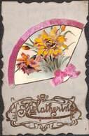 Jolie Carte Fantaisie Ancienne Celluloïd. Décor Eventail, Fleurs, Ruban Ste Catherine - Autres