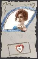 Jolie Carte Fantaisie Ancienne Celluloïd. Décor Eventail, Fleurs, Ruban Femme - Autres