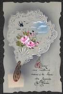 Jolie Carte Fantaisie Ancienne Celluloïd. Décor Miroir De Courtoisie/éventail, Fleurs, Peint à La Main - Autres