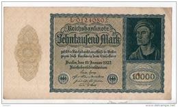 ALLEMAGNE . REICHSBANKNOTE . 10000 MARK . 1922 . N° L. 01240802 - Réf. N°315F - - 10000 Mark