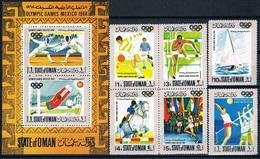 Soccer Football Oman Sheet + Set 1968 Olympics Mexico MNH ** - Neufs