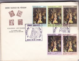 CUADROS ANTIGUOS, BAROCCI, NACIMIENTO. FDC PARAGUAY. 5 COLOUR STAMPS OBLITERE 1967- BLEUP - Paraguay