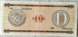 Billete Cuba. 10 Pesos. Serie D. 1985. Certificado De Divisa. Banco Nacional De Cuba - Cuba