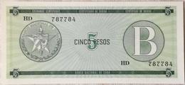 Billete Cuba. 5 Pesos. Serie B. 1985. Certificado De Divisa.Banco Nacional De Cuba. Sin Circular - Cuba