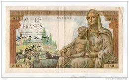 """FRANCE . 1000 FRANCS . TYPE """" DÉESSE DÉMÉTER """" 24-09-1942 - Réf. N°325F - - 1871-1952 Anciens Francs Circulés Au XXème"""