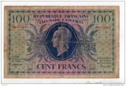 FRANCE . 100 Francs 1943 . Trésor Central . République Française . Type Marianne De Dulac - Réf. N°323F - - Tesoro