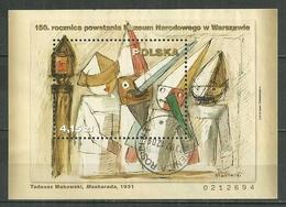 POLAND Oblitéré Bloc 198 Création Du Musée National De Varsovie Tableau Maskarada Tadeusz Makowski Peintre Art - 1944-.... Republik